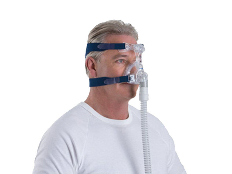 Man wearing the ResMed Mirage Micro Nasal CPAP mask with headgear