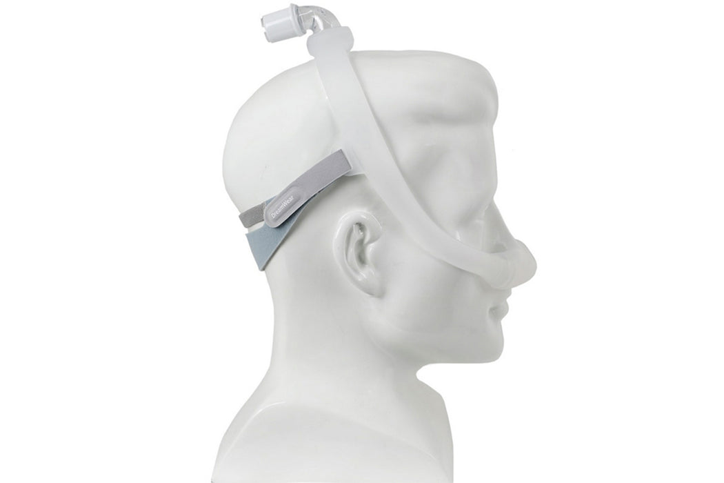 Philips Respironics DreamWear Nasal CPAP mask on a mannequin side view