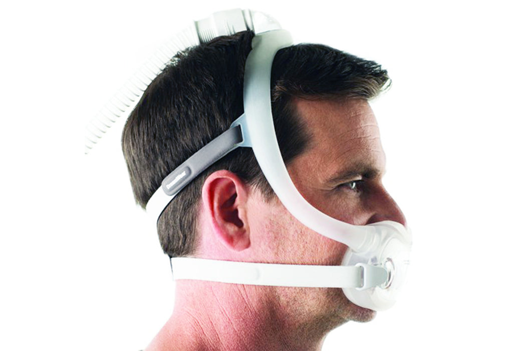 Philips Respironics DreamWear Full Face CPAP mask worn by a man side view