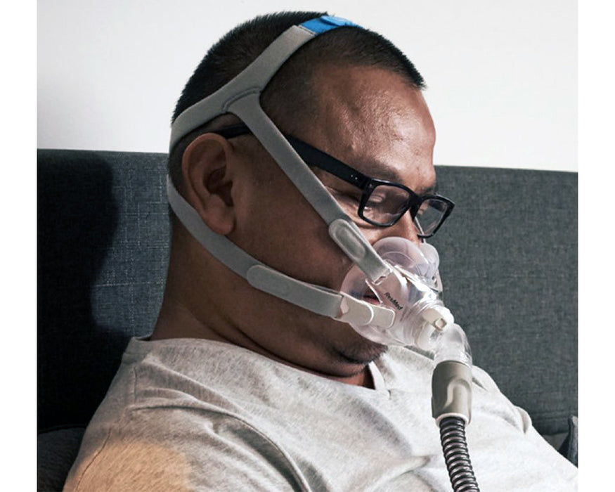 ResMed AirFit F30 Full Face CPAP Mask worn by sitting man with eye glasses