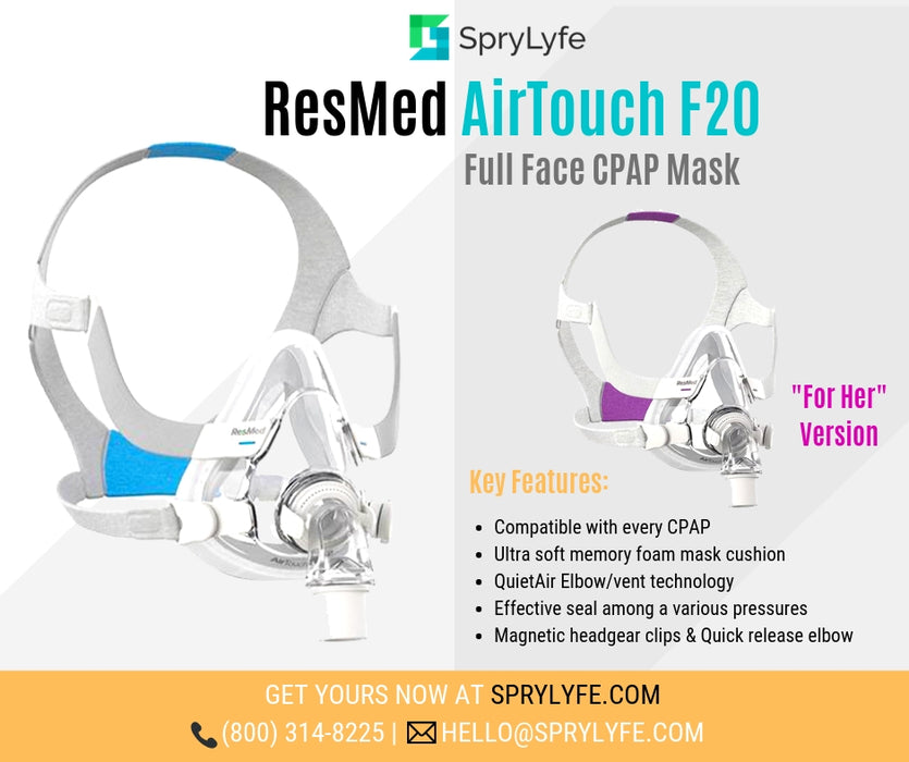 ResMed AirTouch F20 Full Face CPAP mask with headgear brochure