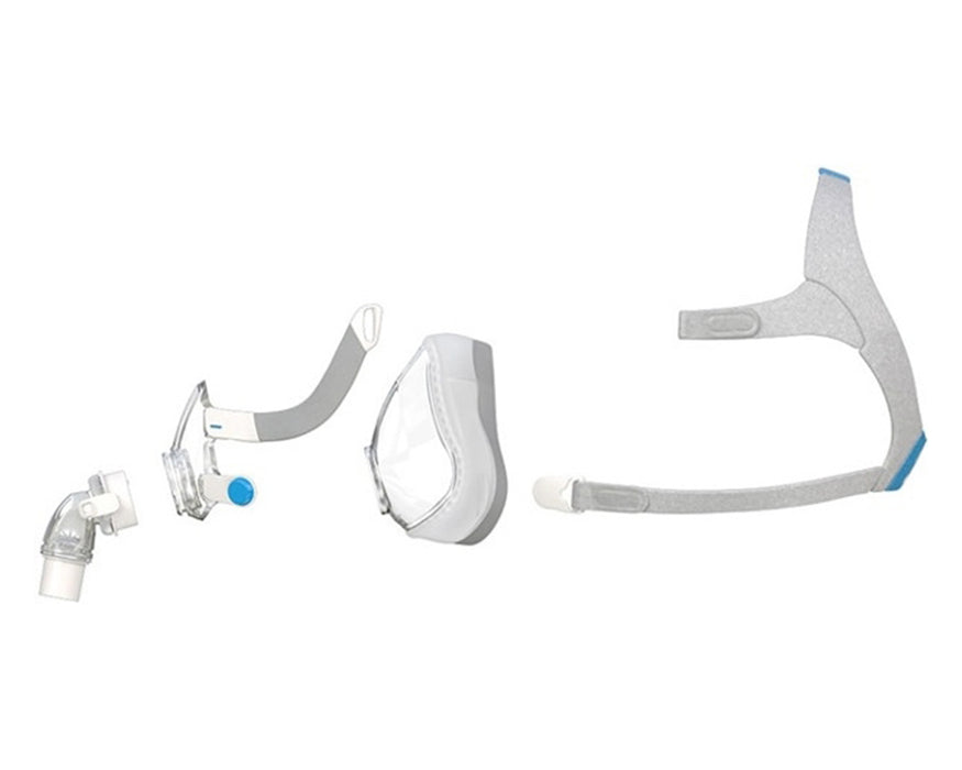 ResMed AirTouch F20 Full Face CPAP mask with headgear exploded view