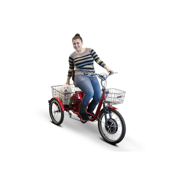 Woman Driving the EWheels EW 29 3-Wheel Recreational Scooter