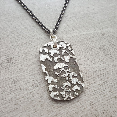 Catacombs Skull Dog Tag Necklace