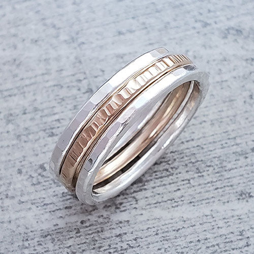 2 Fine Silver & 1 14k Gold Fill Stacking Rings