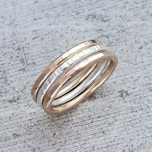 2 14k Gold Fill & 1 Fine Silver Stacking Rings