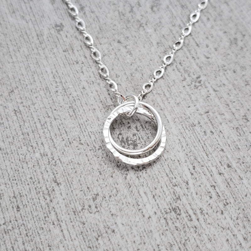 Silver Double Hoop Necklace