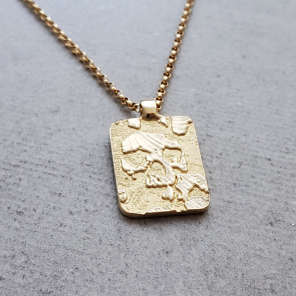 Catacombs Skull 14k Gold Rectangle Necklace