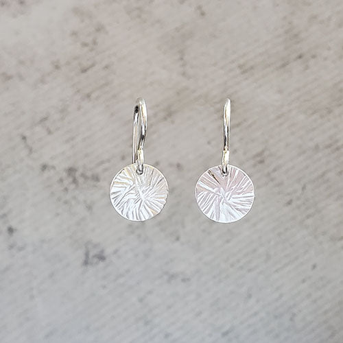 Sterling Silver Hammered Disk Earrings