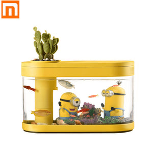 New Xiaomi Geometry Fish Tank Aquaponics Ecosystem Small Water Garden Ecological Transparent Aquarium USB Rechargeable