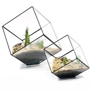 Geometric Cubes Glass Terrarium Home Decor Plant Fleshy Flower Holder Vase Pot