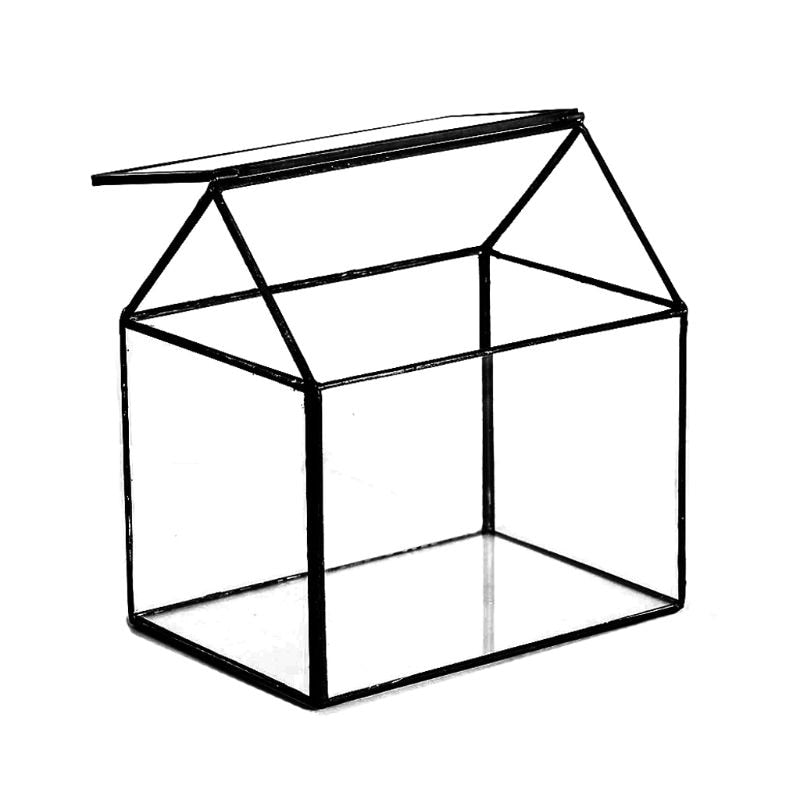 Geometric Glass Terrarium Box Handmade House Shape Glass Table DIY Display Planter Windowsill Flower Pot for Succulent Air Plant
