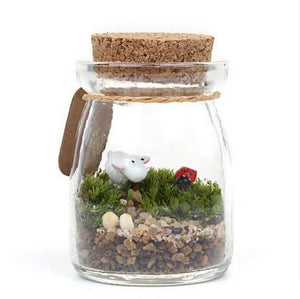 Creative Moss Micro-landscape Bottle Mini Cork Glass Jar Pudding Wish Bottle Cute Small Multi-meat Bottle