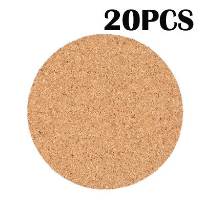 20PCS/LOT Cork coaster wooden pad Round Coasters glass Drinks Holder Stand hot placemat Cup wood Mat mantel Individual For Table