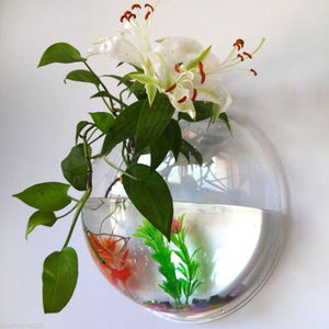 Home Semicircular Wall Hanging Glass Vase Hydroponic Terrarium Fish Tank Plant Flower Home Decor Wedding Decoration