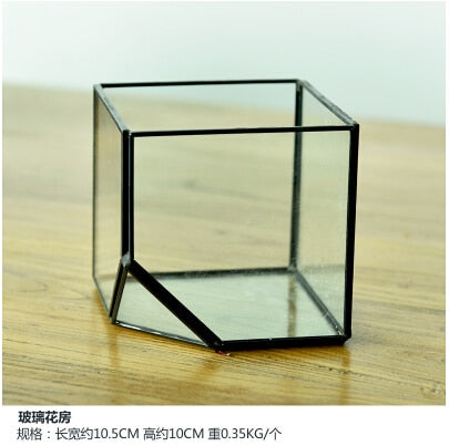 New 3D Big Geometric Glass Flower Pot Terrarium Container Micro landscape Container Hangable Artist House Glass Cube Plant Vase