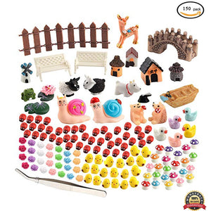 150Pcs Miniature Ornaments Kit for Fairy Garden Dollhouse Decoration Mini Sika Deer Gnomes Moss Terrariums Resin Crafts Figurine