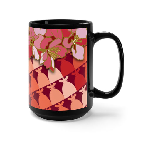 "Black Mug 15oz ""Flower Dolores"""