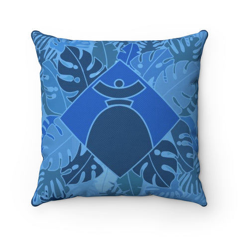 "Spun Polyester Square Pillow "" Dolores Blue Jungle"""