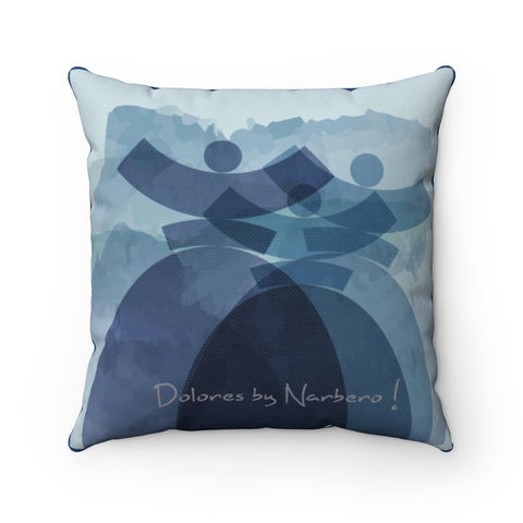 "Spun Polyester Square Pillow ""Dolores Azuro"""