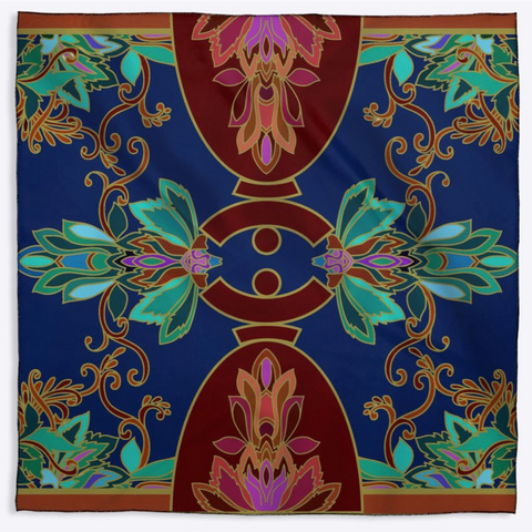 "Scarf ""Dolores Barroque"" 45"" X 45"" Real Silk Satin"