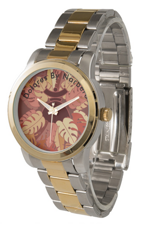 Unisex Oversized Two-Tone Bracelet Watch Dolores Brown Jungle