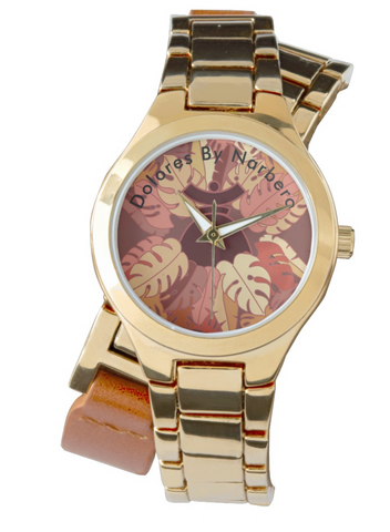 "Women's Wraparound Gold Watch "" Dolores Brown Jungle"""