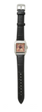 Women's Perfect Square Black Leather Strap Watch Pop Dolores