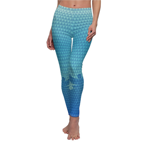 """Dolores Blue Azur"" Women's Cut & Sew Casual Leggings"