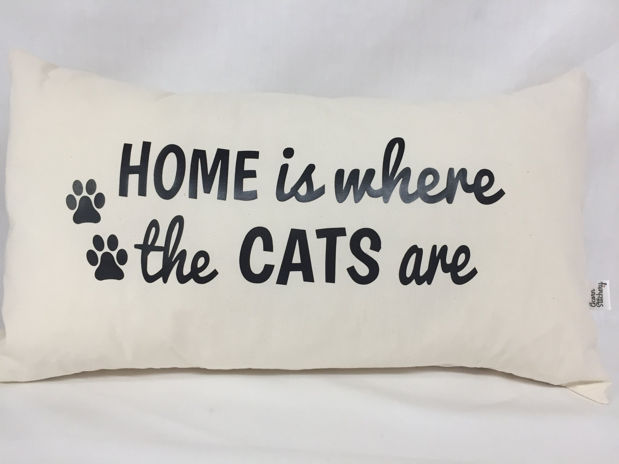 "Home Is Where The Cats Are lumbar pillow 12""x20"""
