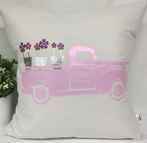 "Flower Delivery Pink Truck pillow 18""x18"" with insert"
