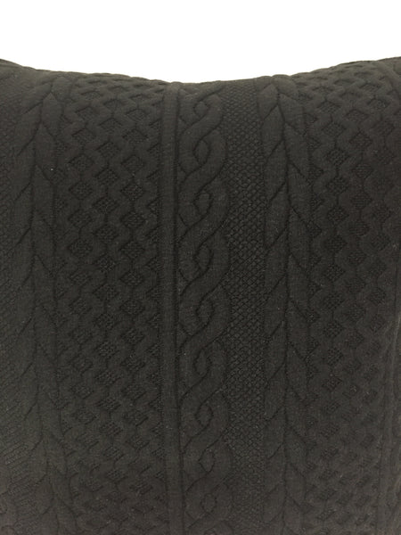 "Cable Knit Black pillow 18""x18"" with insert"