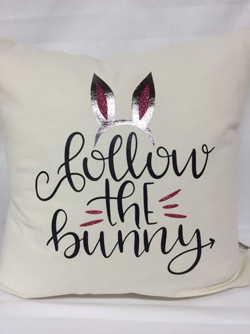 "Follow The Bunny pillow 18""x18"" with insert"
