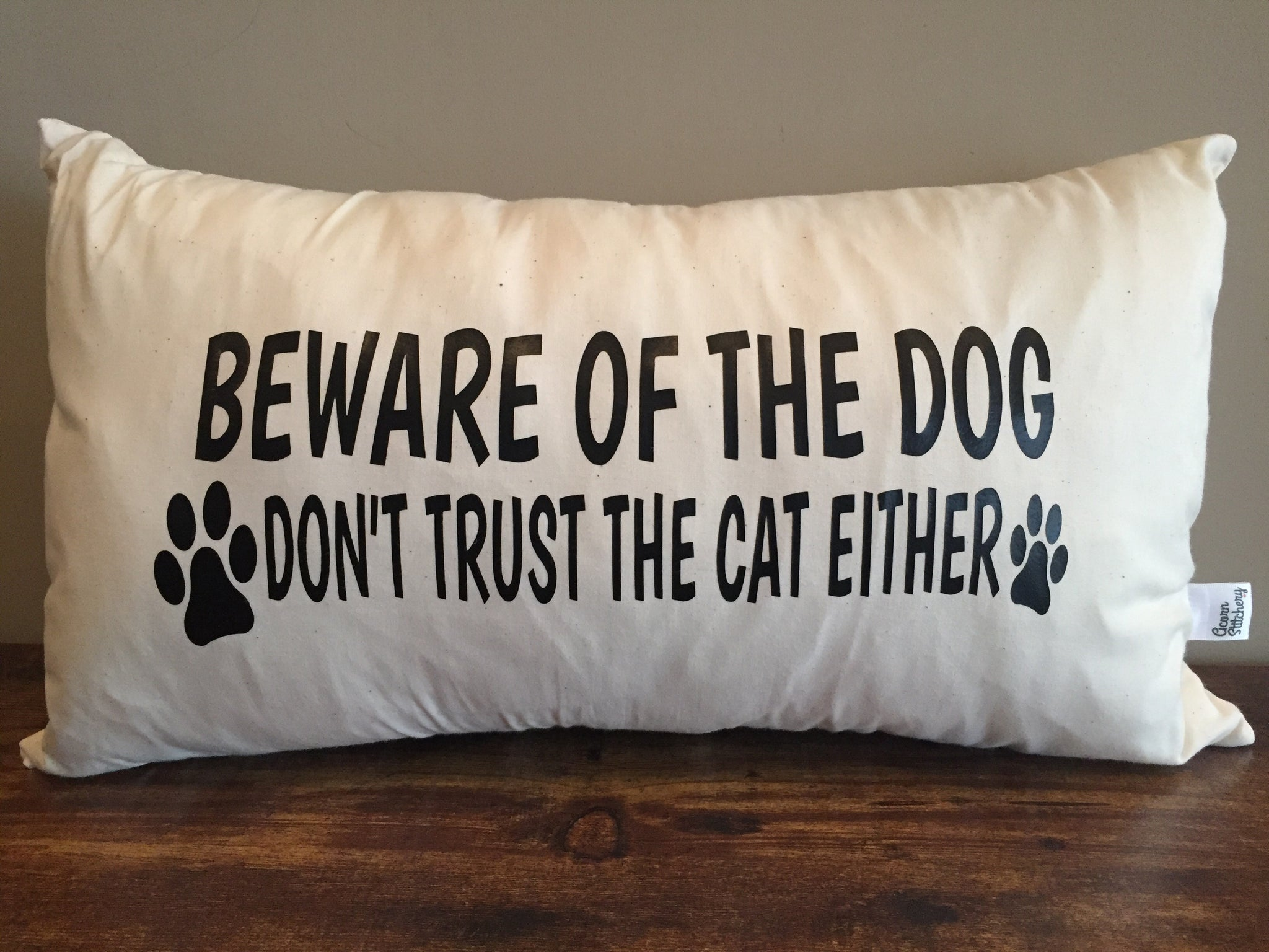 "Beware of the dog, Don't trust the cat lumbar pillow 12""x20"""