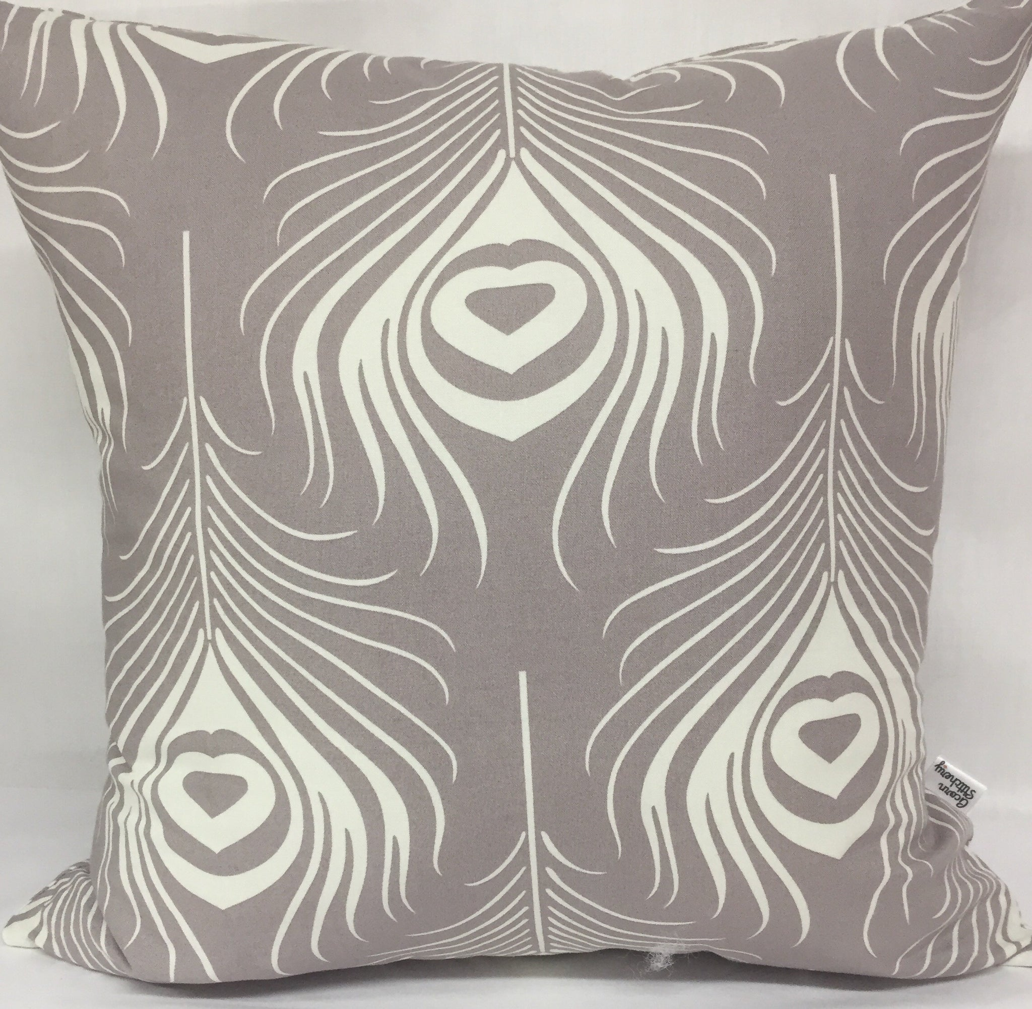 "Grey Peacock Feathers pillow 18""x18"" with insert"