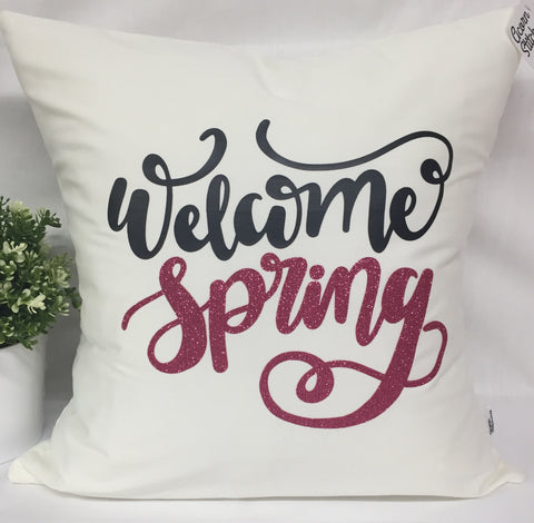 "Welcome Spring pillow 18""x18"" with insert"