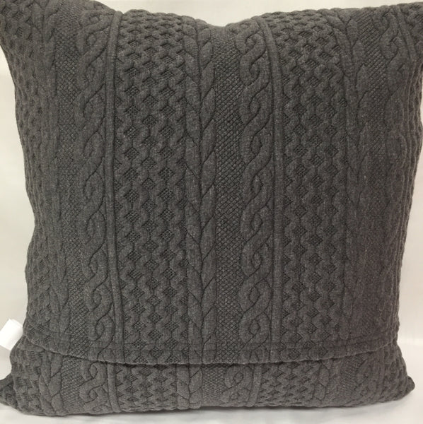 "Cable Knit Charcoal Grey pillow 18""x18"""