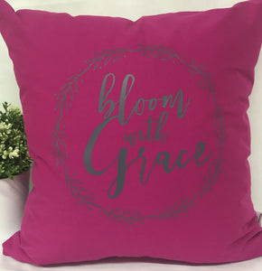 "Bloom with Grace Pillow 18""x18"" with insert"