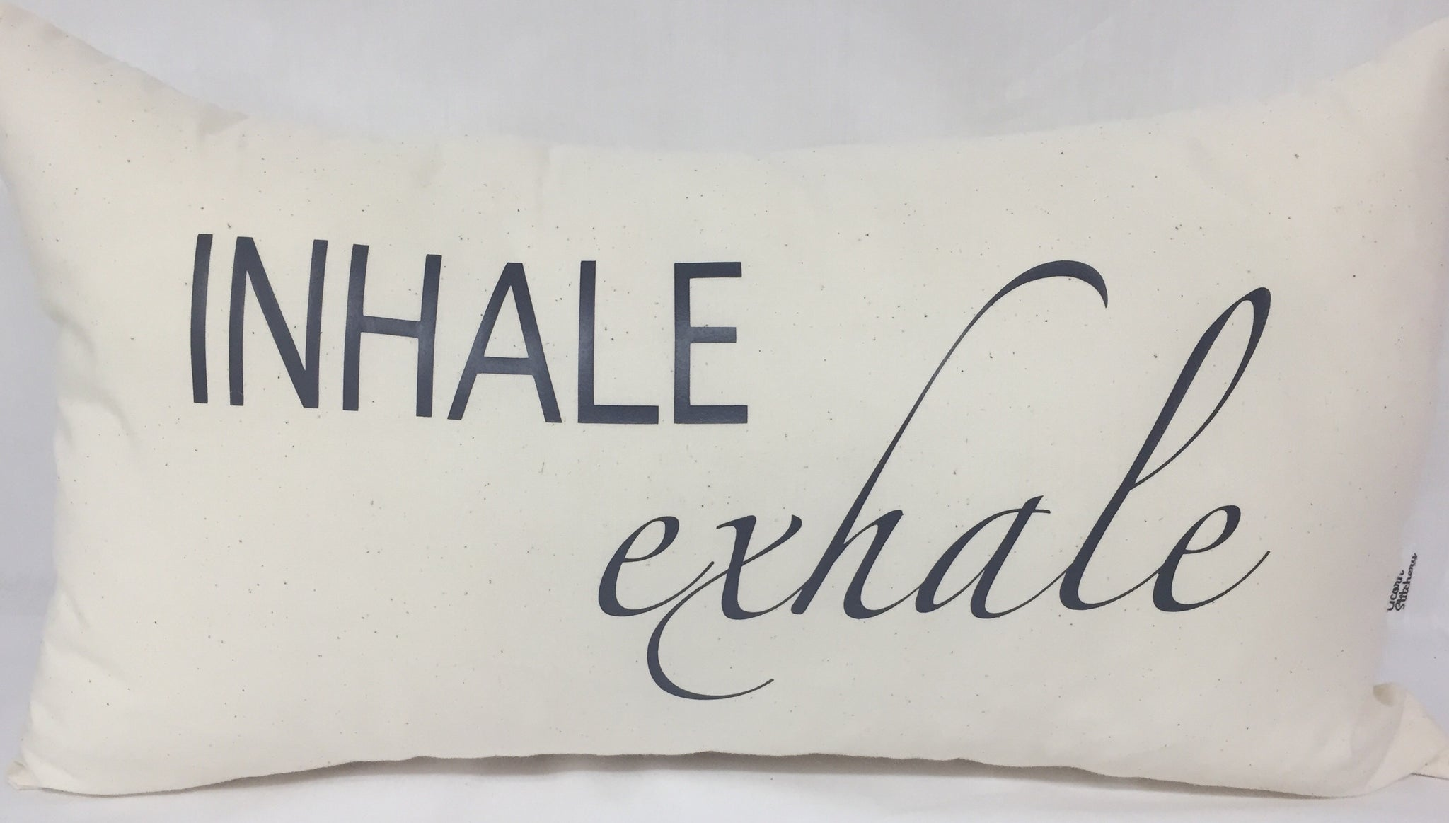 "Inhale Exhale lumbar pillow 12""x20"""