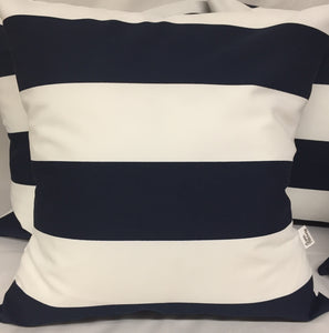"Navy Stripes Outdoor pillow 18""x18"" with insert"