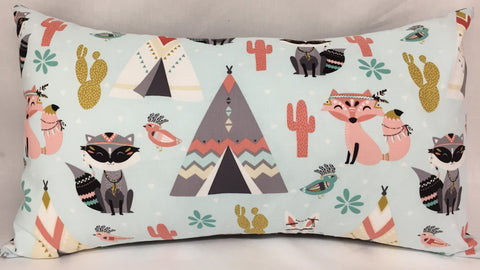 "Cactus and Fox lumbar pillow 12""x20"""