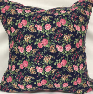 "Spring Roses Navy pillow 18""x18"""