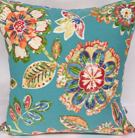 "Blue/Orange Floral Outdoor pillow 18""x18"" with insert"