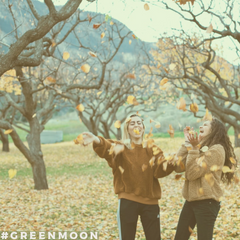 Get Out of Here Negativity! Two women throwing autumn leaves.