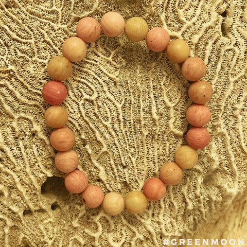 Rhodonite Matte Round Bead Stretch Bracelet