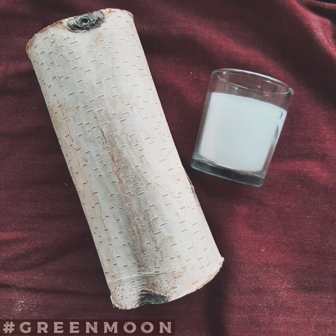 Birch Tree Altar Candle Holder with Glass Votive Holder and Candle - Green Moon Apothecary Ltd