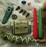 Handmade Red and Green Beeswax Candle Pair - Green Moon Apothecary Ltd