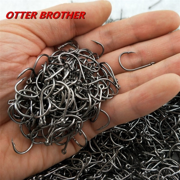 High Carbon Steel Fish Hook Barbed 30PCS 3#-12# Series In Fly Fishhooks Worm Pond Fishing Bait Holder Jig Hole Accessories Pesca