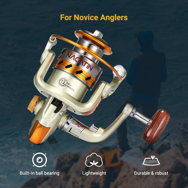 Nacatin NA1000-7000 Fishing Reel 12BB 5.2:1 Metal Spinning Fly Wheel For Fresh Salt Water Sea Fishing Spinning Reel Carp Fishing