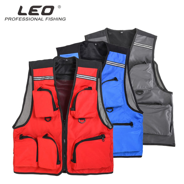 Leo Fishing Vest Life Jacket L/XL/XXL Sport Men Safety Survival Clothing Multi Pocket Vest Outdoor Swim Fly Fishing Clothes Gear